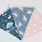 Fairies and Unicorn Glow in the Dark Cotton  Bunting - 9 Flags  (Price Inc P&P)